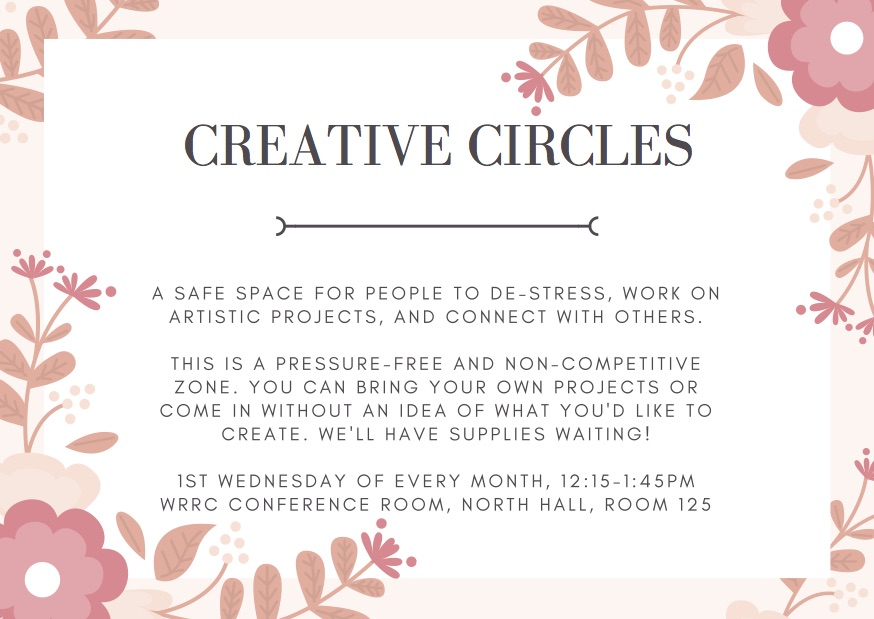 Creative Circles Flier with location, time and day of programs