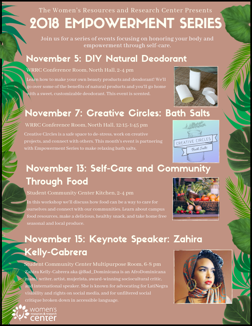 Empowerment Series flyer with green leafy border, featuring images of natural deodorant, jar for bath salts, fresh vegetables, and photo of Zahira Kelly-Cabrera.