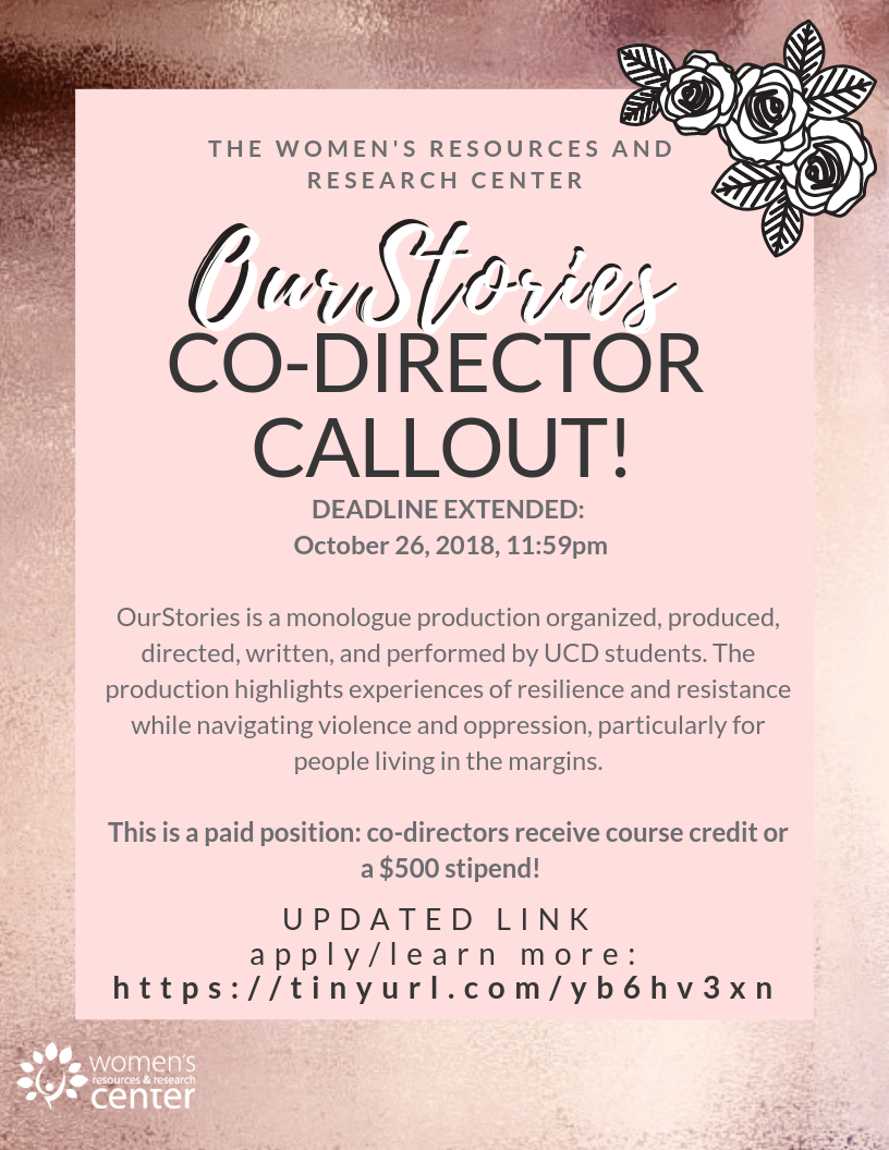 Flyer advertising OurStories Co-Director Call-Out. Application deadline extended to October 26, 2018.