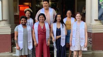 Graduating WRRC Scholars in their stoles on the front steps of the WRRC